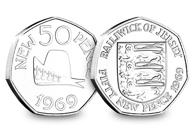 Jersey/ Guernsey 50th Anniversary 50p Pair