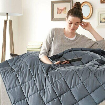 Full Queen Size Adults Weighted Blanket 15lbs 20Lbs Reduce Stress Deep Sleeping