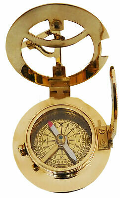 Nautical Hand-Made Compass Brass Working Sundial Pocket Compass Nautical Vintage