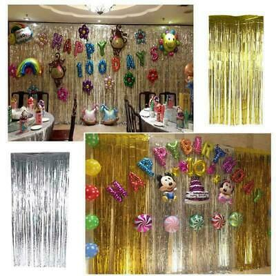 2/3M Foil Shiny Fringe Curtain Wall Door Room  birthday Wedding Party Decoration