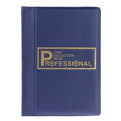 120 Pockets Coins Album Collection Book Commemorative Coin Holders (Blue)