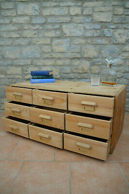 Antique Pine Old Art School Chest of Drawers / Coffee Table / Collectors Cabinet