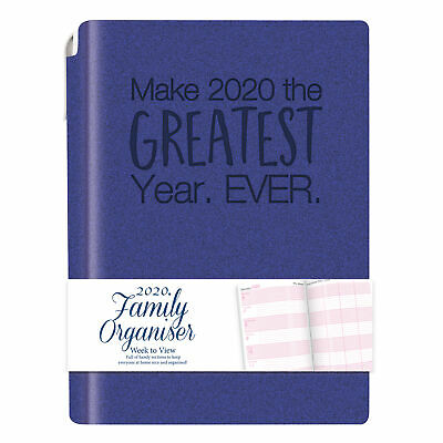 Tallon 2020 A5 Family Organiser Diary and Pen Soft Cover -  Blue