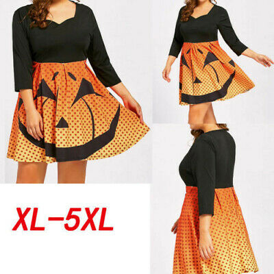 US Women's Loose Halloween Party Pumpkin Print Three Quarter Sleeves Mini Dress
