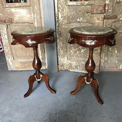 Pair Antique French Style Mahogany End Tables W/ Bronze Accents & Green Marble