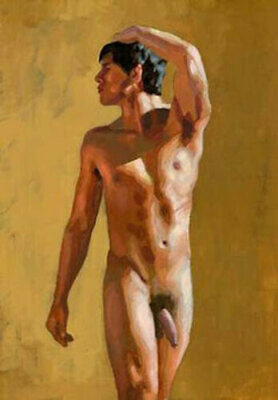 CHENPAT1014 A naked man portrait with a twisted head oil painting art on canvas
