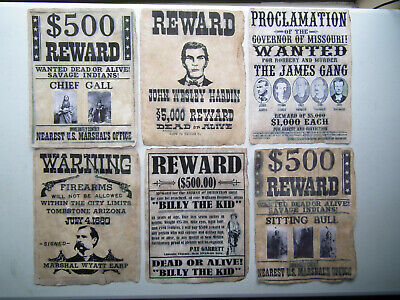 Vintage Look OLD WEST WANTED POSTERS 6 Set A Unique Antiqued by Hand KDAshley