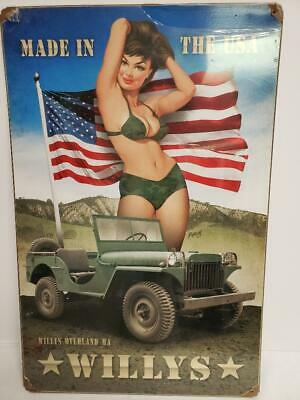 WWII WILLYS Pin Up Girl & Jeep Made in the USA Tin Metal Sign - Huntington Beach