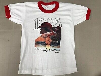 Youth 10/12 Vintage 1985 Pete Rose Cincinnati Reds Ringer 1980s T Shirt