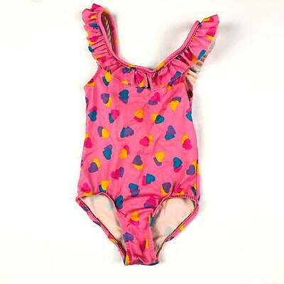 Vintage 80s Girls Pink Heart Print Ruffle One Piece Bathing Suit Swimsuit 6 Yrs
