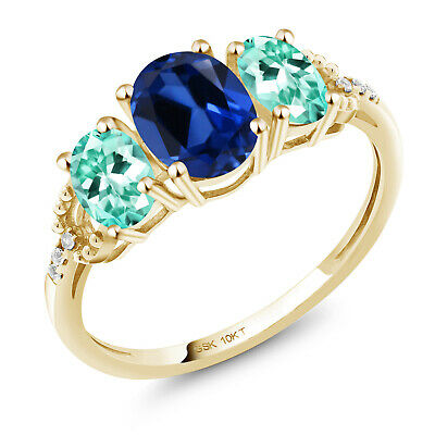 10K Yellow Gold Ring 2.07 Ct Oval Blue Created Sapphire Blue Apatite