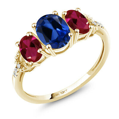 10K Yellow Gold Ring 3.02 Ct Oval Blue Created Sapphire Red Created Ruby