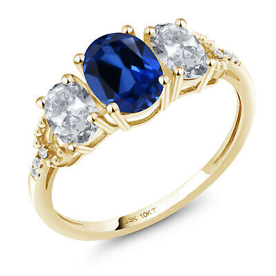 10K Yellow Gold Engagement Ring 2.22 Ct Oval Blue Created Sapphire White Topaz