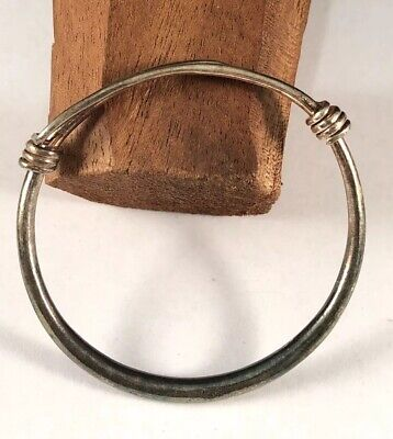 Antique Chinese Export Sterling Silver Petite Adjustable Bangle Bracelet #4