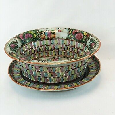 Chinese Export Famille Rose Reticulated Basket and Underplate Early 20th C.