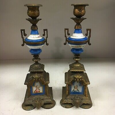 Pair Antique French Brass & Sevres Porcelain Candle Holders Blue Gold Portrait
