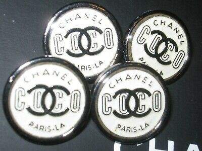 CHANEL 4 BUTTONS coco 18mm , 3/4 inch metal with  cc logo 4