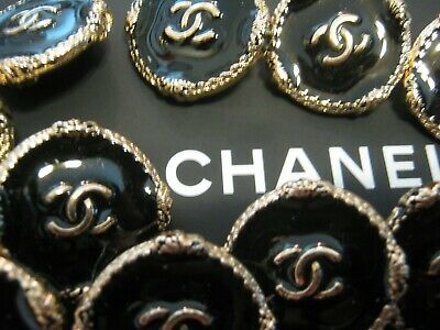 CHANEL 6 large BUTTONS BLACK GOLD 25 mm BIGGER THAN 1 inch metal with  cc logo