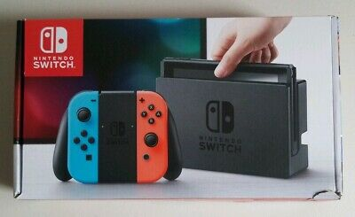 Nintendo Switch 32GB Gray Console with Neon Red & Blue Joy-Con PERFECT CONDITION