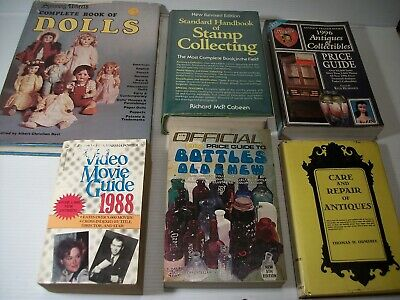 Collecting & Antique Books Lot (6)  Dolls Bottles Stamps Care & Repair Movies