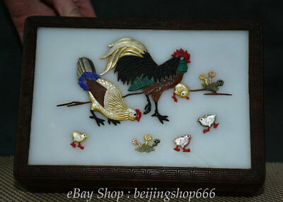 """8"""" antique Chinese Huanghuali Wood inlay Shell Rooster Cock storage Jewelry box"""