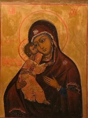 Antique Russian Icon VLADIMIRSKAYA 19th Century Mother Of God w/Gold Frame Kiot