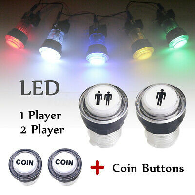4PC LED Arcade Start Push Button Kit Part 1 Player + 2 Player + LED Coin  new