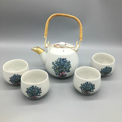 5pc Takahashi Japanese Teapot 4 Tea Cup Set Forget Me Not Floral San Fran AS-IS