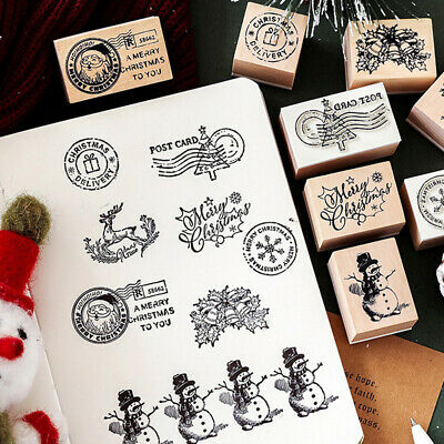 Vintage Christmas post office series DIY scrapbooking wooden rubber stamp-