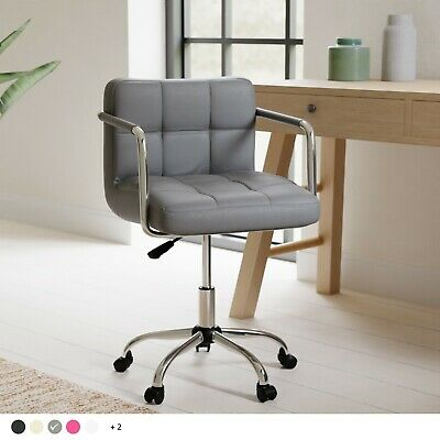 Cushioned Computer Office Desk Chair Chrome Legs Lift Swivel Small Adjustable