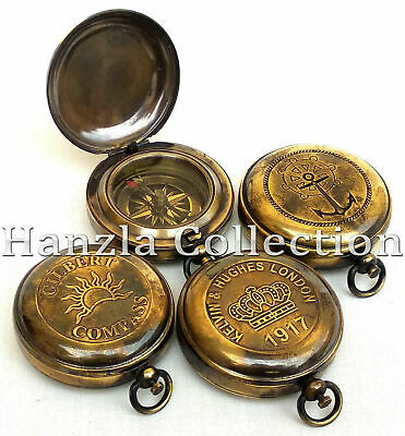 Gift Set of 4 Different Style Brass Push Button Compass Antique Pocket Compass
