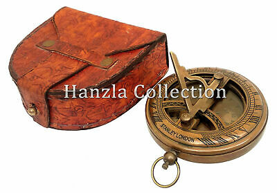 Marine Stanley London Antique Pocket Sundial Nautical Brass Push Button Compass