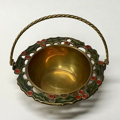Brass Holly Basket With Twisted Handle India Christmas