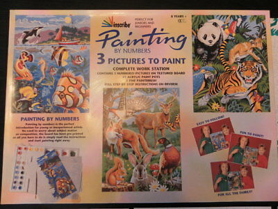 Painting by numbers picture boards Tiger, Deer, Fish.