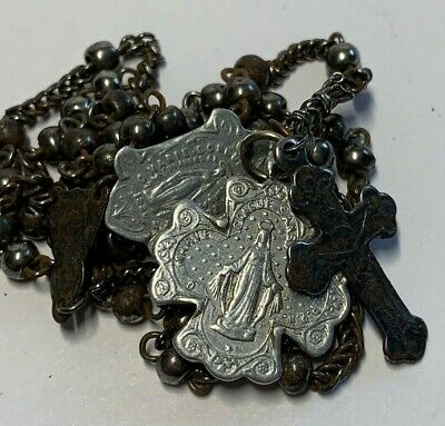 † 1800s ANTIQUE FRENCH MILITARY WWI GUNMETAL DELICATE ROSARY DOUBLE SIDE CROSS †