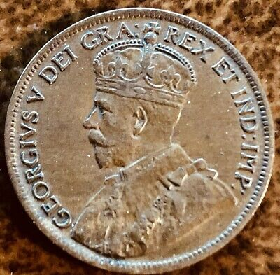 Canada 1c One Cent 1917 bronze King George V  The Coin Pictured You Will Recieve