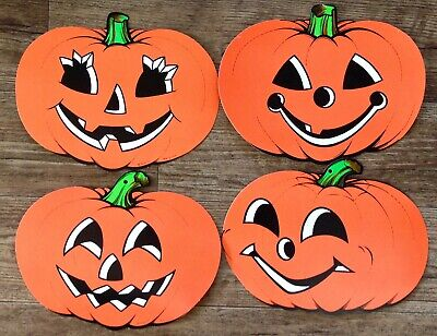 4 Vintage Halloween Decorations DIE CUT Paper BEISTLE Pumpkins Jack O Lanterns