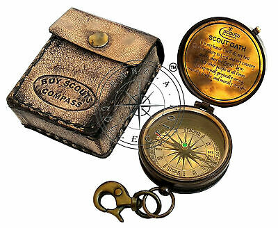 Brass Pocket Compass Nautical Maritime Boy Scouts Pocket Poem With Leather Case