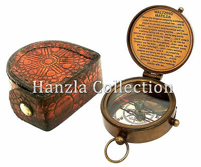 Antique Brass Compass~Vintage Dollond London Poem Pocket Gift With Leather Case