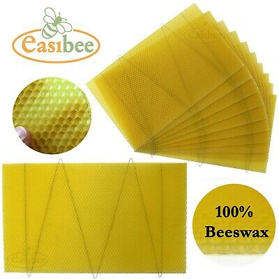 National Bee Hive Deep Brood Wired 100% Natural Beeswax Wax Foundation Sheets