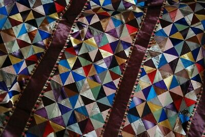 ANTIQUE VICTORIAN SILK CRAZY QUILT TOP ~ FABULOUS and FRAGILE but VG CONDITION