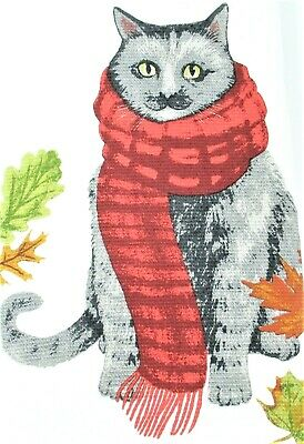"Isaac Mizrahi Kitchen Towels Set of 2 dish hand 18x28"" Autumn Cat Wearing Scarf"