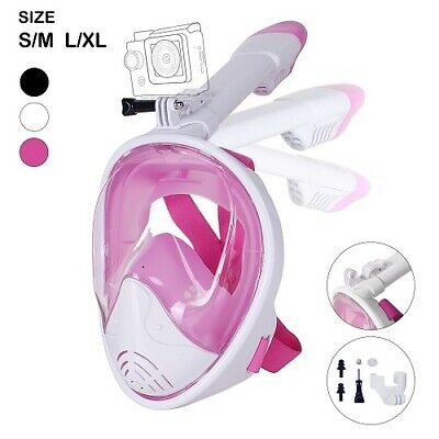 Unigear 180° Full Face Snorkel Mask -Panoramic view White/pinkS/M