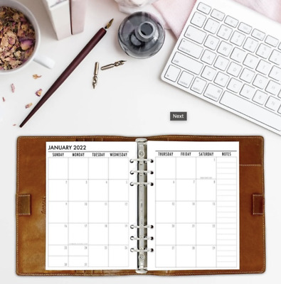 fits Louis Vuitton MM Agenda: 2020 calendar insert: Weekly Planner + Note Pages