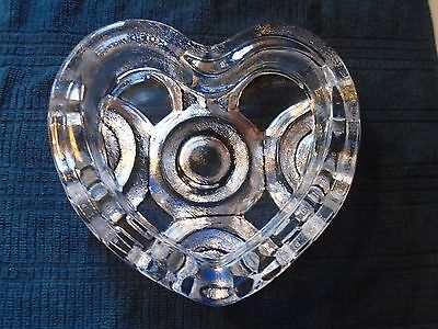 Skruf Mid Century Textured Heart Shaped Dish Signed Hellsten Skruf