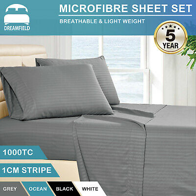 1000TC Striped Ultra Soft Microfiber Fitted Flat Sheet Set All Size Pillowcases