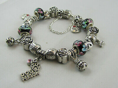 "925 SILVER STAMPED 20cm FOR EUROPEAN STYLE CHARM BRACELETS  ""DOG PERSON"" #1722"