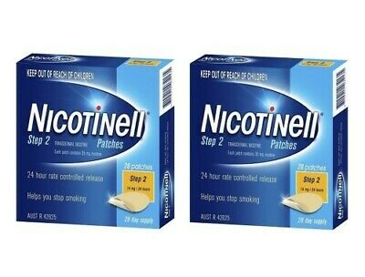NC 2 x Nicotinell Step 2 Patch 14mg 24 Hours 28 Day Supply Quit Smoking Patches