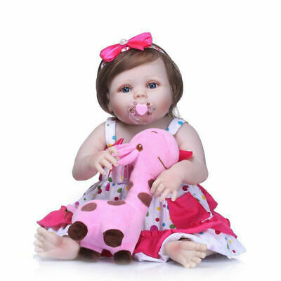 "22"" Reborn Baby Dolls Full Body Vinyl Silicone Girl Doll Newborn Toddler Toy US"