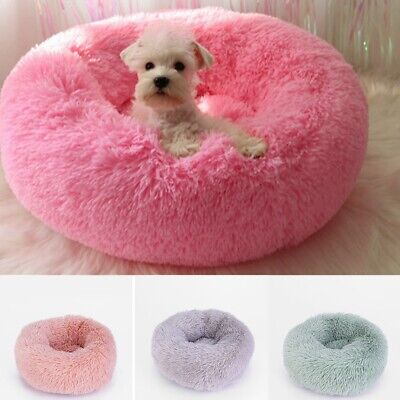 Pet Cat Dog Kennel Calming Sleeping Bed Round Nest Warm Soft Plush Comfortable
